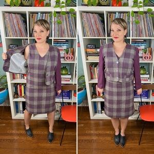 Vintage 80s wool plaid dress suit coordinates